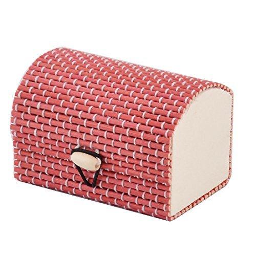 eDealMax bois fait main cadeau boîte de rangement Bijoux Collier Ornement Organisateur Porte-Rouge
