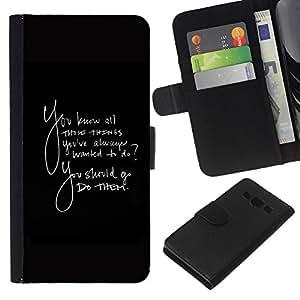 KingStore / Leather Etui en cuir / Samsung Galaxy A3 / Las cosas siempre quise hacer Quote ellos