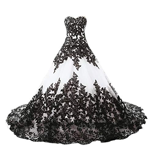 APXPF Women's Vintage Gothic Wedding Dress Elegant Black Appliques Prom Ball Gowns White US16