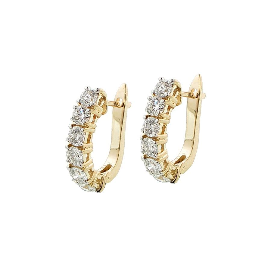 2.25 CT TW Large Diamond Hoop Earrings in 14K Yellow Gold