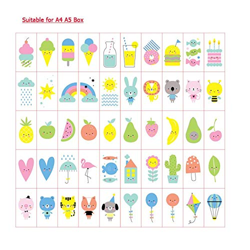 (Kiot Useful The Latest Cartoon Pattern Card for A4 A550 Pcs Light Box Card for Home Decorn Message Board Card for)