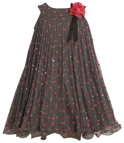 Bonnie Jean Little Girls' Mesh Dress with Flocked Dots, Grey, 6 ()