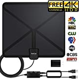 TV Antenna, [2019 Newest] Indoor Digital HDTV Amplified Antennas Freeview 4K HD VHF UHF for Local Channels 120 Miles Range with Switch Amplifier Signal Booster Support All TV's-16.5ft Coax Cable