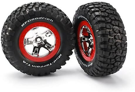 Traxxas 5867 Short Course Tires on Chrome Wheels with Red Bead lock, Slash 4x4 [並行輸入品]