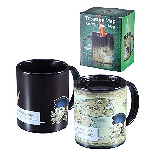 Antner Heat Changing Treasure Map Mug Color Changing Magic Coffee Mug Heat Sensitive Ceramic Cup, 12 Ounce -