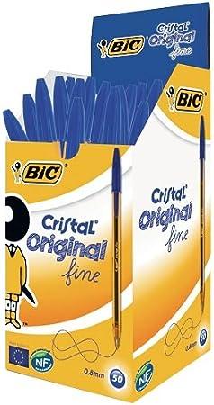 Bolígrafo BiC Cristal Original de punta redonda caja de 50 unidades Color Azul 92385-CS