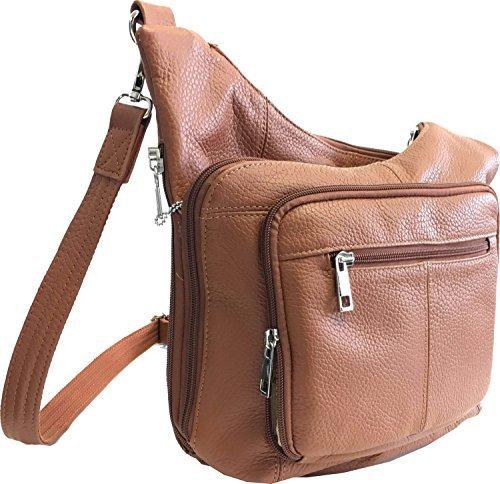 Roma Leathers Stylish Leather Locking Concealment Crossbody Purse - CCW Concealed Carry Gun Handbag, Ambidextrous, Light Brown (7085-LBRN)
