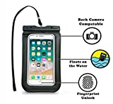 Waterproof Touch-ID Fingerprint Enabled Pouch Dry Bag Case Full Cover for iPhone X 8 8+ 7 7S 7+ 6 6S 6+ 5S 5C 5 4 3 iPod Touch Samsung and Smartphones with Screen Size up to 6.5' by Cybertech