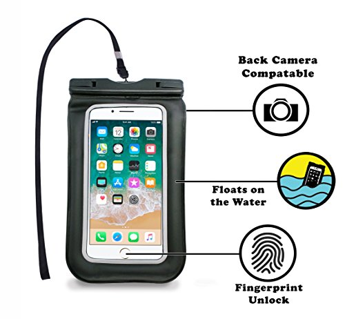 Waterproof Touch-ID Fingerprint Enabled Pouch Dry Bag Case Full Cover for iPhone X 8 8+ 7 7S 7+ 6 6S 6+ 5S 5C 5 4 3 iPod Touch Samsung and Smartphones with Screen Size up to 6.5