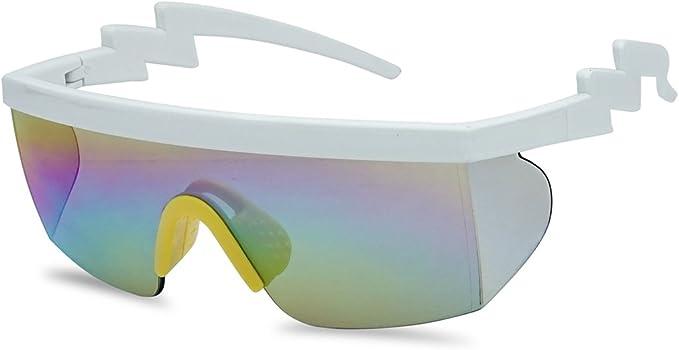 Men's Retro Sunglasses, Vintage Sunglasses SunglassUP 80s Neon Semi Rimless Style Retro Rainbow Mirrored Transparent Lens ZigZag Sunglasses $11.99 AT vintagedancer.com