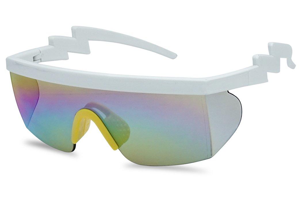 Large Wrap Around Rainbow Mirrored Semi Rimless Flat Top Shield Goggles Sunglasses (White Yellow Frame | Rainbow Mirror)