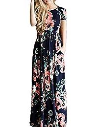 YACUN Women's Short Sleeve Print Boho Long Beach Dress Party Gown