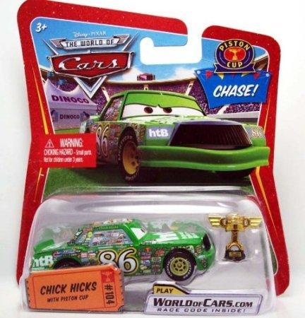 (Dubblebla Disney / Pixar Cars Movie 1:55 Die Cast Car Chick Hicks with Piston Cup Trophy Chase Piece!)