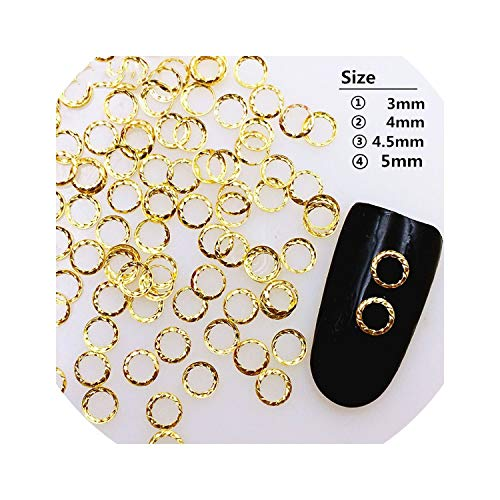 100Pcs/Lot Gold Sier Hollow Twied Ring Rivets Round uds Metal Alloy Nail Art Decorations Diy Nail stickers/Charms,m Sier ()