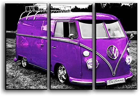 Big 3 Piece Vintage Vw Bus Wall Art Decor Picture Painting Poster Print on Canvas Panels Pieces - Vintage Car Theme Wall Decoration Set - Volkswagen Wall Picture for Showroom Office 22 by 33 in
