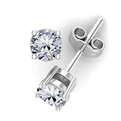 465689539 Amazon.com: 0.25 carat total weight Diamond Stud Earrings 14k White Gold-4  Prong Basket Style Friction Push Back Posts (G-H I1-I2) Eyeclean: Jewelry