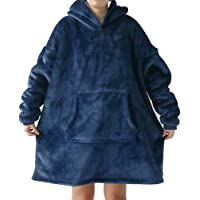 Huggle Hoodie Ultra Plush Blacket - NorthMars Comfy Blanket Giant Sweatshirt Huggle Fleece Warm (Blue)