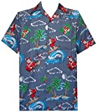 Alvish Hawaiian Shirt 41 Mens Christmas Santa Claus Party Aloha Holiday Gray L