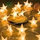 Uping Stars String Lights 30 LED | Battery Operated Fairy Light 4.5M | Party Garden Christmas Halloween Holiday Wedding Decoration Indoor Outdoor | Warm White | Energy Class A ++