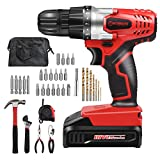 Cheap WORKSITE 18V Cordless Drill Driver Household Tool Drill Project Kit with 34 Hand Tools & Accessories and Tool Bag