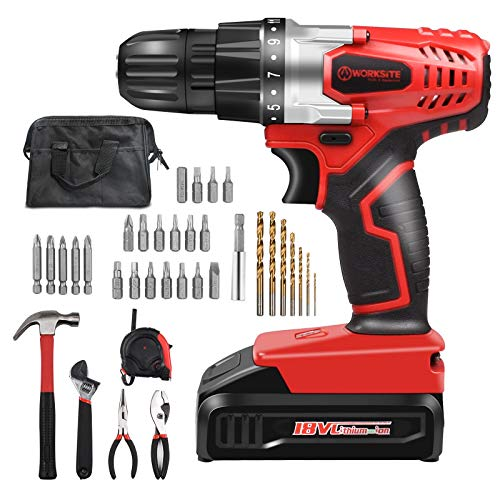 WORKSITE 18V Electric Cordless Drill ScrewDriver 34 Pcs Household Tool and Accessories Kit