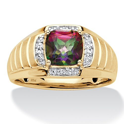 Men's 10K Yellow Gold Genuine Mystic Fire Topaz and Diamond Accent Ring Size 8 (Mens Jewelry Diamond)