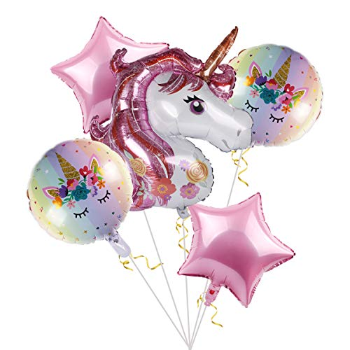 (Staraise Unicorn Balloons Birthday Party Decorations - Pack of 5, Pink Unicorn Mylar Balloon for Unicorn Theme Party Supplies, Baby Shower, Home Office Decor, Birthday)