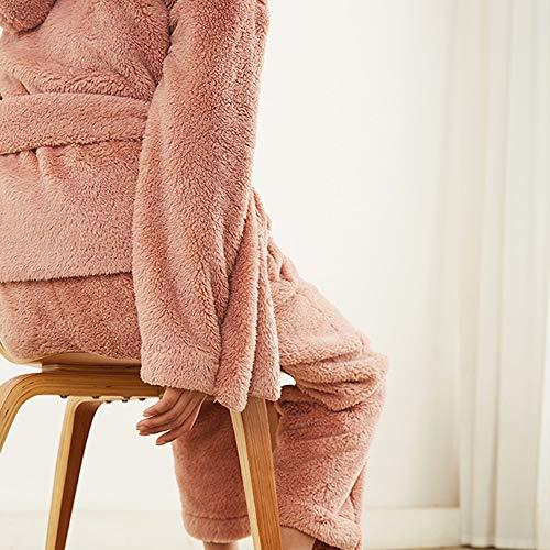 Solapa Suave A Traje Pink color Tamaño L Las Casual De Domicilio Cardigan Cómodo Pink Fleece Larga Sexy Felpa Coral Cálido Manga Mujeres Albornoz Pijamas Servicio xfOCYwUq
