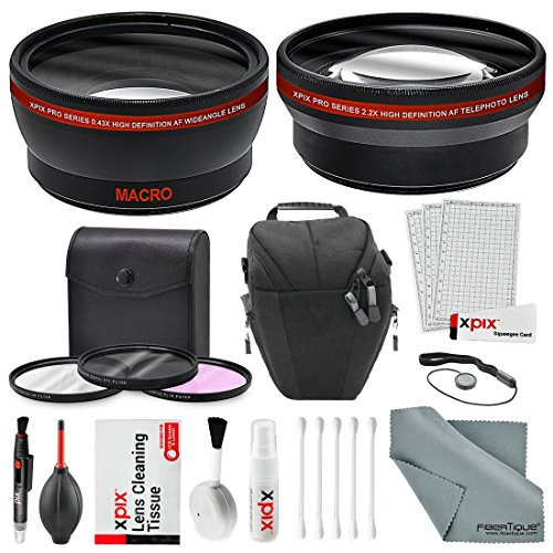 (58MM HD 2.2X Telephoto & 0.43X Wide Angle + Xpix Photo Accessories w/Basic & Travel Bag for Canon Rebel (T6s T6i T6 T5i T4i T3i T3 T2i T1i XT XTi XSi), EOS (700D 650D 600D 1100D 550D 500D 100D))