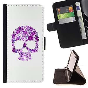 BullDog Case - FOR/Samsung Galaxy Note 3 III / - / FLORAL PURPLE SKULL WHITE PINK SPRING /- Monedero de cuero de la PU Llevar cubierta de la caja con el ID Credit Card Slots Flip funda de cuer