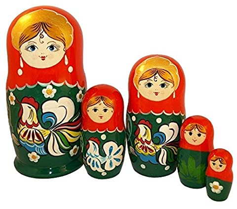 The Rooster Nesting Dolls - Wooden Russian Matryoshka Dolls - Hand-painted Ethnic Gift - 5 pc Set of Stacking Dolls - 6 inches - Littlest Angel Doll