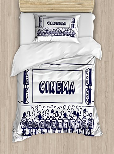 Ambesonne Movie Theater Twin Size Duvet Cover Set, Hand Drawn Illustration Audience Sitting in Theater Waiting The Movie, Decorative 2 Piece Bedding Set with 1 Pillow Sham, Navy Blue White by Ambesonne