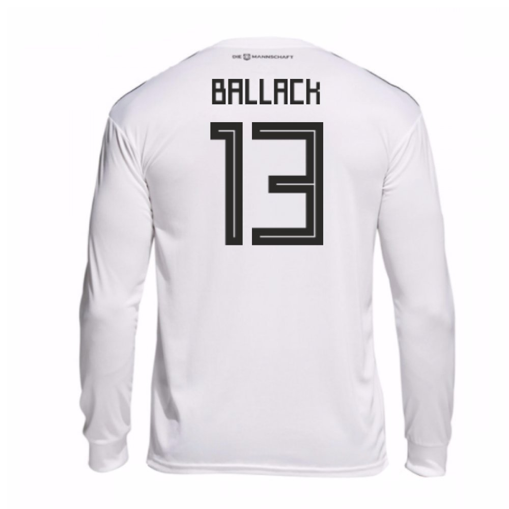 2018-19 Germany Home Long Sleeve Football Soccer T-Shirt Trikot (Michael Ballack 13)