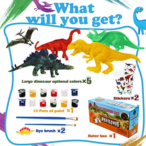 Kids Crafts and Arts Supplies Set 3D Painting Dinosaurs - Painting Dinosaurs Toys Art and Decorate Your Own Dinosaur Craft Kit Toys for Kids Ages 3 4 5 6 7 8 9