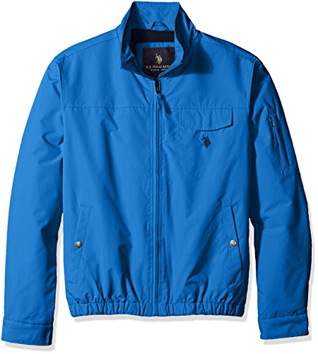 U.S. Polo Assn. Men's Micro Peached Windbreaker Jacket with Fleece Lining, China Blue, M (Peached Chino)