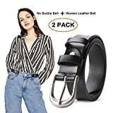 No Buckle Women Stretch Belt with Women Leather Belt for Jeans Pants 2 Pack (For Pants Size 30''-34'', 1-Black)