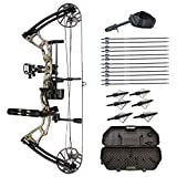 SAS Feud 70 Lbs Compound Bow Travel Package with Arrows, Hard Case, Broadheads, Quiver, Whisker Biscuit Arrow Rest, Release Aid, Wax, Stabilizer, Neoprene Sling, Tube Peep Sight and D-Loop (Camo)