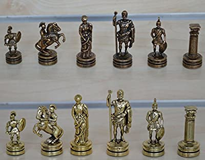 Manopoulos Romans Small Chess Set - Gold-Copper - Handmade in Greece