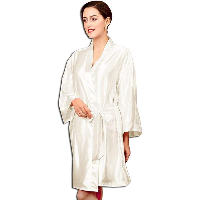 Damas Kimono Bata Satén Noche Cálido Mantón De Seda Clásico Bata Pijamas Camisón Albornoz Pijama Ropa