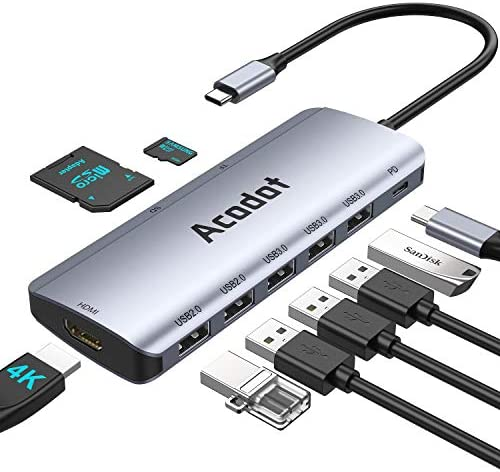 USB C Hub, Acodot 9 in 1 Type C Portable Aluminum Dongle with 4K HDMI, 5 USB Ports, 100W PD, SD/TF Card Reader, Compatible for MacBook Pro/Air(Thunderbolt 3) XPS and More Type C Devices