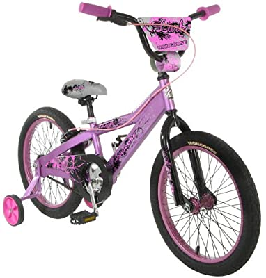 Mongoose Lark Girl's Bicycle with Training Wheels, 18-Inch Wheels, Pink | Computers