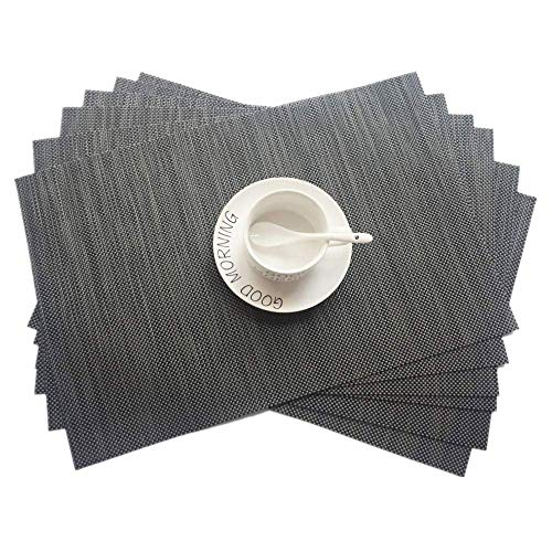 Placemats Dinnerware (vinmax Placemats Set of 6 PVC Exquisite Durable Woven Dinning Heat-Resistant Table Mats Anti-Skid Washable Woven Crossweave Vinyl Non Slip Heat Insulation Placemat(Grey))