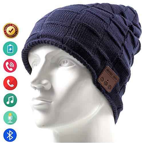 Bluetooth Hat Beanie Wireless Headset Headphones Music Audio Women Men Boys Girls Winter Cap with Speaker Mic Hands Free Outdoor Sport Stereo Earphone Earpieces (Blue)