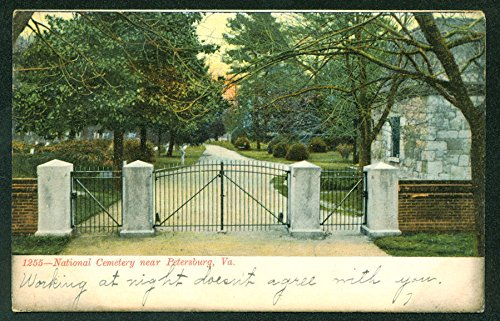 Cemetery Postcard - Cemetery Postcard with Creepy Written Message Petersburg Virginia VA