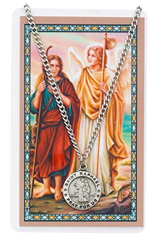Saint Rahpael 3/4-inch Pewter Medal Pendant with Holy Prayer Card (Tag St Office Petersburg)