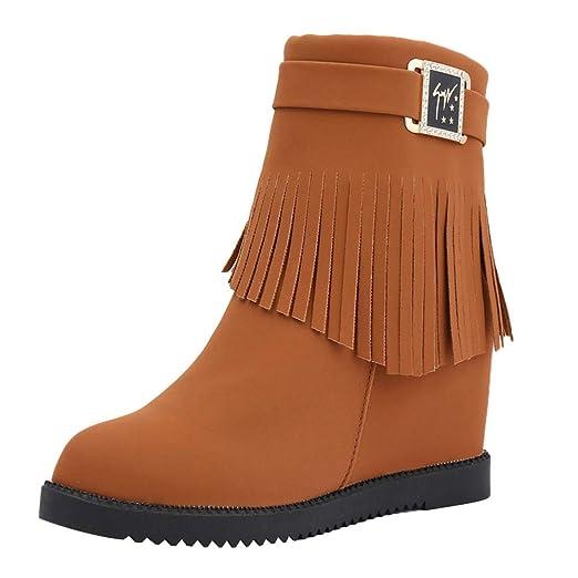 ❤ Botas de Invierno Mujer Borlas, Borlas Femeninas Boots Cinturón Hebilla Aumentar Dentro de peluchas Medias Absolute: Amazon.es: Ropa y accesorios