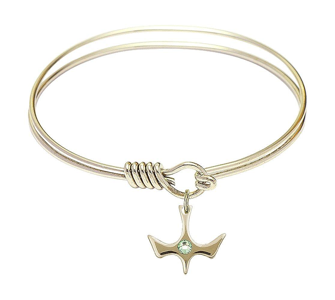 6 1//4 inch Round Eye Hook Bangle Bracelet w//Holy Spirit Medal Charm w//August Green Swarovski Crystal