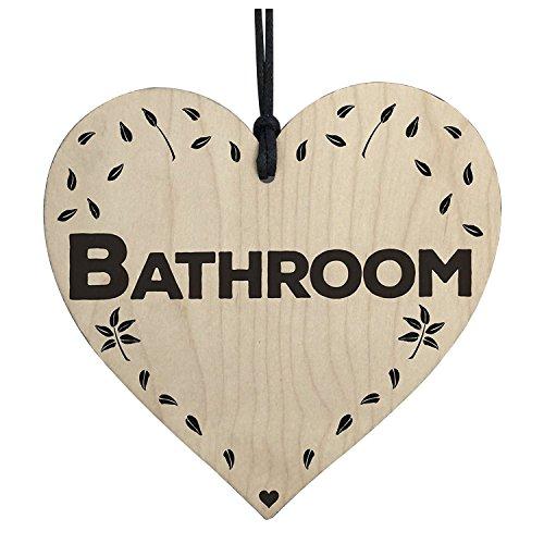 TOOGOO(R) Bathroom Wooden Hanging Heart Plaque Toilet Shabby Chic Home Decor Door Sign