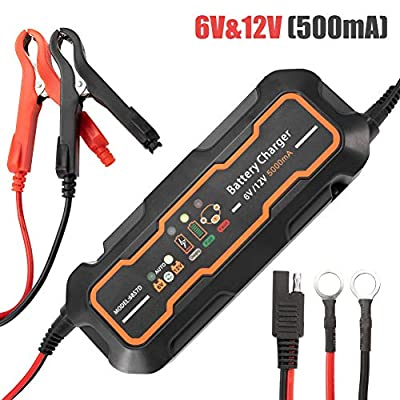 Automotive Trickle Battery Charger Maintainer 5A 6V/12V for Car Motorcycle Lawn Mower SLA ATV WET AGM GEL CELL Lead Acid Batteries