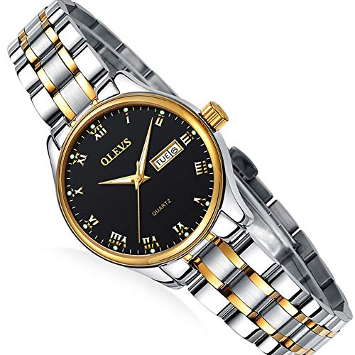 Day Date Steel Watch - Women's Day and Date Watch,Stainless Steel Ladies Watches,Roman Numeral Ladies Watch,Lady Analog Dress Quartz Watch,Luminous Steel Watch for Women,Ladies Business Small Watches,Waterproof Watch Lady